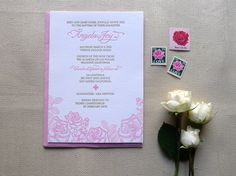 Roses Baptism Invite by Cartoules Press
