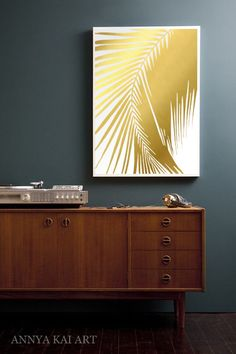 Palm Tree Leaf Print - in REAL GOLD FOIL - Tropical Palm Leaves, Tropical Decor Art, Modern Palm Leaves by AnnyaKaiArt on Etsy https://www.etsy.com/listing/269331115/palm-tree-leaf-print-in-real-gold-foil