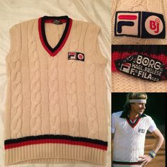 Fila bj Bjorn Borg 1970 warmup vest Gilet made in Italy vintage tennis