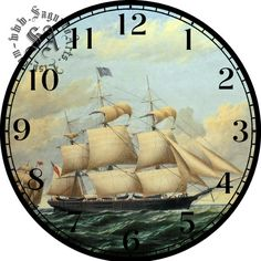 Clipper Ship Art  DIY Dgital Collage  12.5 DIA от CocoPuffsDesigns Clock Printable, Paper Clock, Puntarenas, Face Images, Clock Faces, Scroll Saw Patterns, Decoupage Paper, Ship Art, Face Art