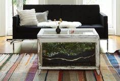 Pflanzen in einem Couchtisch bilden ein Terrarium im Shabby-Stil