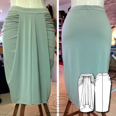 Waterfall Drape Skirt - First Sample. So much more pattern making in my FREE Members Area. Drape Skirt Pattern, Dress Making Patterns, Pattern Making, Jersey Skirt, Types Of Skirts, Draped Skirt, Fashion Sketches, New Dress, Ball Gowns