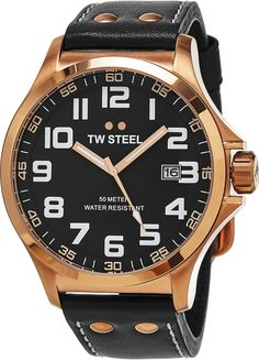 TW Steel Pilot Watch - Black Dial Date TW Steel Watch Mens - Black Leather Band 48mm Stainless Steel Plated Rose Gold Watch TW417. Brushed PVD plated rose gold stainless steel case (48 mm in diameter, 14 mm thick), Screw-down case-back with embossed TW Steel logo, Polished PVD rose gold bezel. Black dial with TW Steel logo at the 12 o'clock position, Rose gold luminescent hands with sweep seconds hand, White luminescent Arabic numerals. Date window at the 3 o'clock position, Mineral…