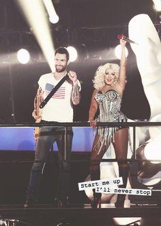 Adam Levine & Christina Aguilera singing classics.