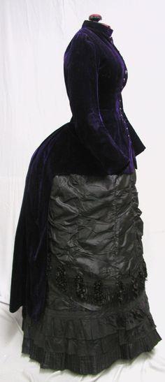 #1362, 1880's Purple Velvet & Black Silk Bustle Gown