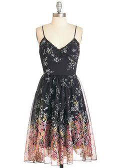 Winsome Wildflowers Dress - Multi, Floral, Print, Ruffles, Daytime Party, A-line, Spaghetti Straps, Spring, Woven, Long, Boho