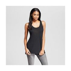 Women's Crew Neck Drapey Tank Black  - Mossimo ($10) ❤ liked on Polyvore featuring tops, black, summer tank tops, summer shirts, crew neck shirt, layering tanks and strappy tank top