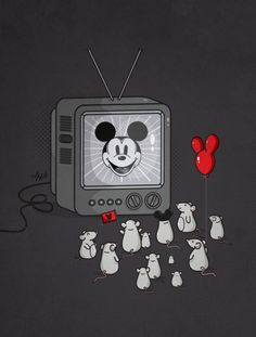 Nabhan Abdullatif Mickey Mouse Idolization. Perhaps this means how quickly everyone fall under the might of persuasion and reputation. Even the worst things can be influenced by the media as a friendly, trustworthy or valuable thing?