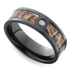 Inset Diamond Men S Ring With Camo Inlay In Zirconium 7 Mm