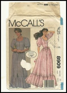 Vintage 80s Laura Ashley Dress McCalls Pattern Victorian Revival Prom Party Boho | eBay Mccalls Patterns, Dress Sewing Patterns, Vintage Sewing Patterns, Fabric Patterns, Clothing Patterns, Vintage Outfits, Vintage Fashion, 80s Fashion, Vintage Clothing