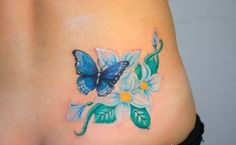 butterfly tattoo with flowers 42 - 50 Butterfly tattoos with flowers for women   <3