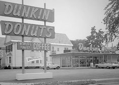Original Dunkin' Donuts on Southern Artery in Quincy, Massachusetts, 1950. Fun fact: It's still open today!