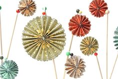 Colorful Paper Rosette Fan Cake/ Cupcake Toppers