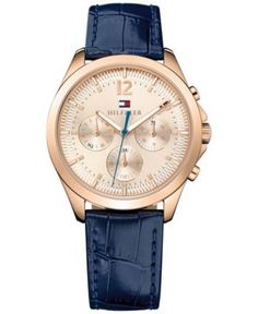 Tommy Hilfiger Women's Sophisticated Sport Navy Leather Strap Watch 36mm 1781703 - Blue