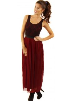 Ox Blood Pleated Maxi Skirt With Lace Vest Top