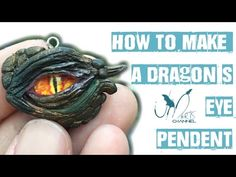 How to make a dragon's eye pendent with clay - fimo - Tutorial - DIY - Super Sculpey Polymer Clay Dragon, Cute Polymer Clay, Polymer Clay Projects, Diy Clay, Polymer Clay Jewelry, Clay Crafts, Wire Jewelry, Make A Dragon, Dragon Eye