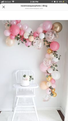 A balloon garland, how ingenious! Any color/decor scheme. A balloon garland, how ingenious! Any color/decor scheme… baby shower ideas fo… A balloon garland, how ingenious! Any color/decor scheme… baby shower ideas for girls Baby Girl 1st Birthday, First Birthday Parties, 1st Birthday Girl Party Ideas, First Birthday Decorations Girl, Tea Party Birthday, Gold Birthday, High Chair Birthday, Birthday Ballon Decorations, Birthday Celebration