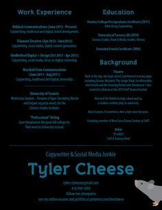 Here's the condensed, printable version of my resume. #tcheese #copywriter #resume