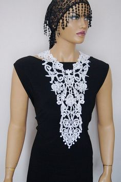 Christmas Gift/ Bib Necklace/ Lace Necklace/ White Necklace/ Fabric Necklace/ Women Accessory/ Women Fashion / Gift For Her BUY 3 PRODUCTS and GET EXPRESS SHIPPING