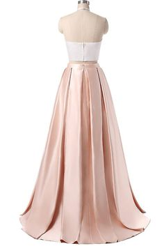 Elegant satins two pieces halter simple long dress for prom - prom dresses 2018