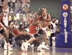The GOAT spins on Dan Majerle and Mark West for the lefty layup score in Phoenix. Michael Jordan Basketball, Jordan 23, Chris Mullin, Michael Jordan Photos, Nba Video, Eastern Conference Finals, Steve Smith, Sport Icon, Nba Players
