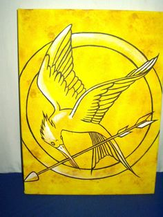 Painting The Hunger Games Mockingjay Symbol Yellow Canvas 16 x 12 inch Acrylic