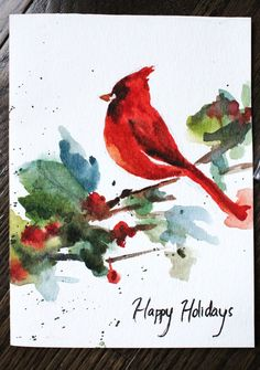 Cardinal by lulupapercranes Watercolor Sketchbook, Watercolor Projects, Watercolor Animals, Watercolor And Ink, Watercolor Flowers, Watercolor Paintings, Valentines Watercolor, Watercolor Christmas Cards, Christmas Drawing