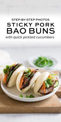 Appetizers Recipes Sticky Pork Bao Buns with step-by-step photos Pork Recipes, Asian Recipes, Cooking Recipes, Healthy Recipes, 100 Calories, Sticky Pork, Good Food, Yummy Food, Tasty