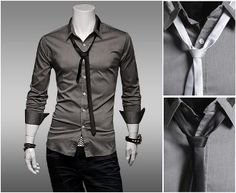 2013 fashion trend : Men's Shirt with Tie $26.94