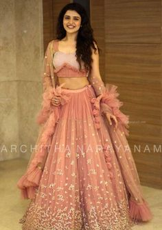 Party Wear Lehenga Peach Exclusive Amazing Work On Net lehenga choli with Blouse and Blush Pink Dupatta Indian Wedding Lehenga Indian Wedding Gowns, Indian Bridal Outfits, Indian Gowns Dresses, Indian Designer Outfits, Designer Dresses, Indian Bridesmaid Dresses, Wedding Dresses, Prom Dresses, Party Wear Lehenga