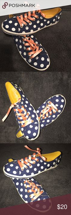 Keds Very Cute! Navy Blue with white polka dot Keds. Worn once for an hour long dance class. Had planned on wearing them as something more comfortable for my wedding and completely forgot to change!! Original laces have been misplaced, but currently have Coral colored ribbons in place as laces. Easily could be replaced with white or navy laces (what it came with)! Keds Shoes Sneakers