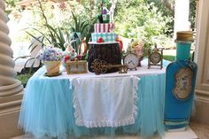 Cake Table from an Alice in Wonderland Birthday Party via Kara's Party Ideas |