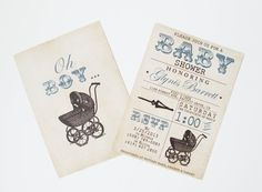 Vintage Stroller Baby Boy Shower Invite - Blue, Brown, Tan, Rustic, Grungy, Antique Pram Baby Stroller via Etsy