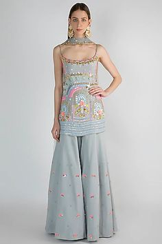 Featuring a grey sharara set in crepe, georgette and tulle base. It has sequins and bead rose embroidery. FIT: Fitted at bust and waist. CARE: Dry clean only. Indian Wedding Outfits, Pakistani Outfits, Indian Outfits, Party Wear Indian Dresses, Indian Gowns, Pakistani Dress Design, Indian Designer Suits, Indian Fashion Designers, Indian Fashion Trends