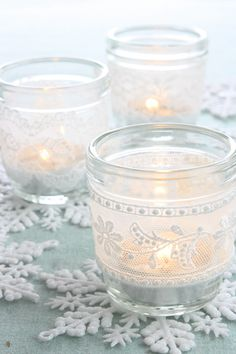 Simple, beautiful, and elegant use of snowflake ornaments incorporated into candle centerpiece.