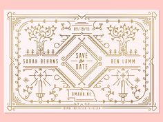 Dribbble - Save the Date by Nathan Walker Stationery Design, Invitation Design, Wedding Stationery, Wedding Invitation, Party Invitations, Bee Design, Design Art, Logo Design, Lettering