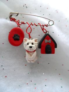 Westie Charms Pin polymer clay Dog Lover brooch Creative by theWRC