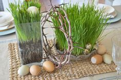 Easter table-i like the wheat grass in the clear container