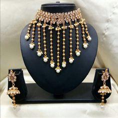 Pearl Necklace Designs, Jewelry Design Earrings, Jewlery, Indian Wedding Jewelry, Bridal Jewelry, Beaded Jewelry, Rajput Jewellery, India Jewelry, Stylish Jewelry