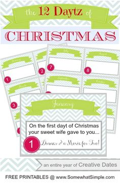 FREE Printable 12 Daytz of Christmas. Plan a date for every month of the year and give it to your spouse for Christmas this year!