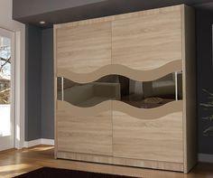 QUALIA 9 - oak + glass chestnut + mirror wardrobe