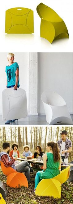 Portable but stylish seats. If I hear portable seat I think ugly deck chair or someone along those lines. I wouldn't imagine this. I think this could be great for the garden, especially in England. Simply bring in when not in use, and with the tiny amount of space it would need for storage it's perfect.
