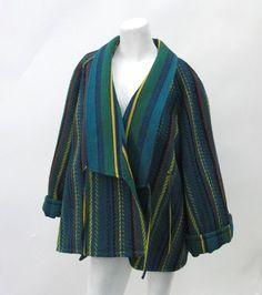 KENZO PARIS 80's Vintage Green Wool Ikat Coat Size 36