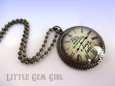 Alice in Wonderland Necklace White Rabbit Quote Clock Necklace - Vintage Style Antique Bronze Clock Pendant