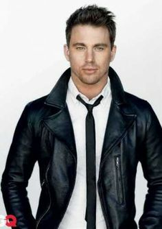 leather jacket and tie