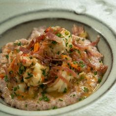 Southern Fare: Creamy Shrimp & Crimson Grits with Country Ham - thank you, Chris Hastings of Hot and Hot Fish Club