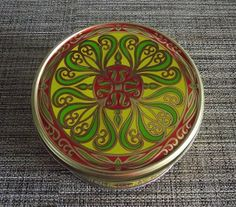 Red Green and Gold Vintage Embossed Tin Storage Container