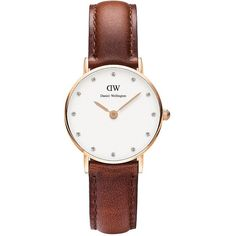Daniel Wellington Classy St Mawes Rose Goldtone Brown Leather Strap... ($149) ❤ liked on Polyvore featuring jewelry, watches, black, water resistant watches, slim watches, daniel wellington, daniel wellington watches and rose gold tone jewelry