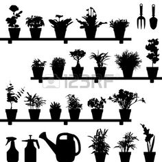 Buy Flower Plant Pot Silhouette Vector by Leremy on GraphicRiver. This is a huge set of flower pot in silhouette vector. All items can be isolated because they are not merged. Silhouette Clip Art, Black Silhouette, Vector Flowers, Garden Images, Nature Plants, Vector Graphics, Potted Plants, Flower Pots, Garden Tools