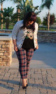Picture Pretty Plus Size, plus size tartan pants. cute gtl in heels